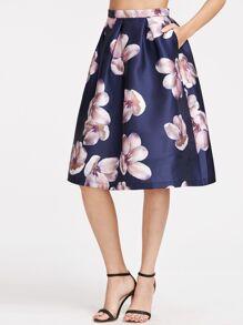 Falda plisada con estampado de flor - marino