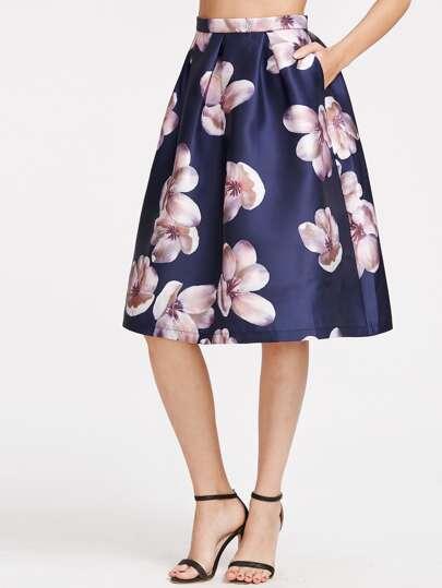 Jupe plissée imprimé fleurs - Navy