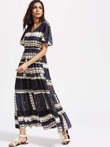 Patchwork Print Flutter Sleeve Tiered Dress