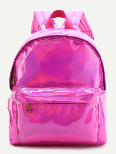 Hot Pink Front Pocket PU Backpack