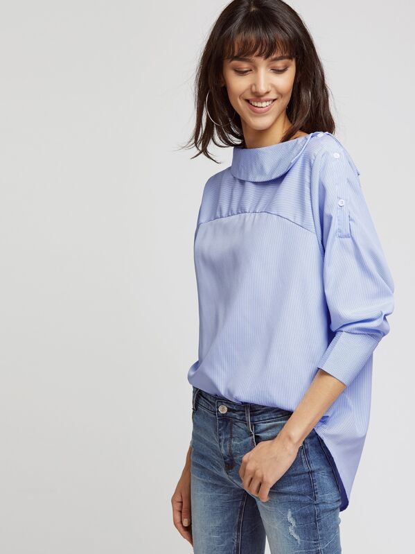 Vertical Pinstripe Curved Hem Top, Camila