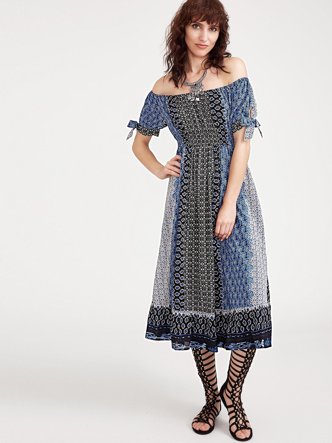Color Block Vintage Print Bow Sleeve Off The Shoulder Dress