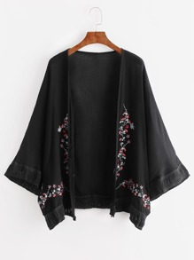Black Flower Embroidered Fringe Hem Kimono