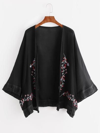 Flower Embroidered Fringe Hem Kimono