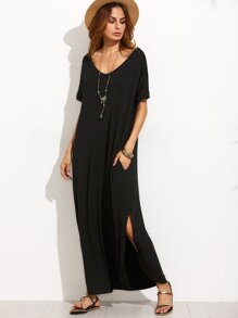 Black V Neck Cut Out Back Long Dress