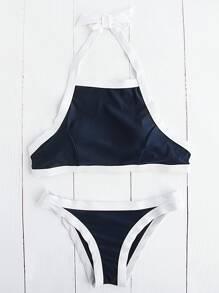 Bikini ras de cou découpé bicolore