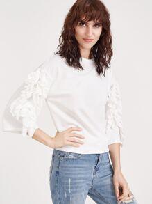 White Drop Shoulder Ruffle Trim T-shirt