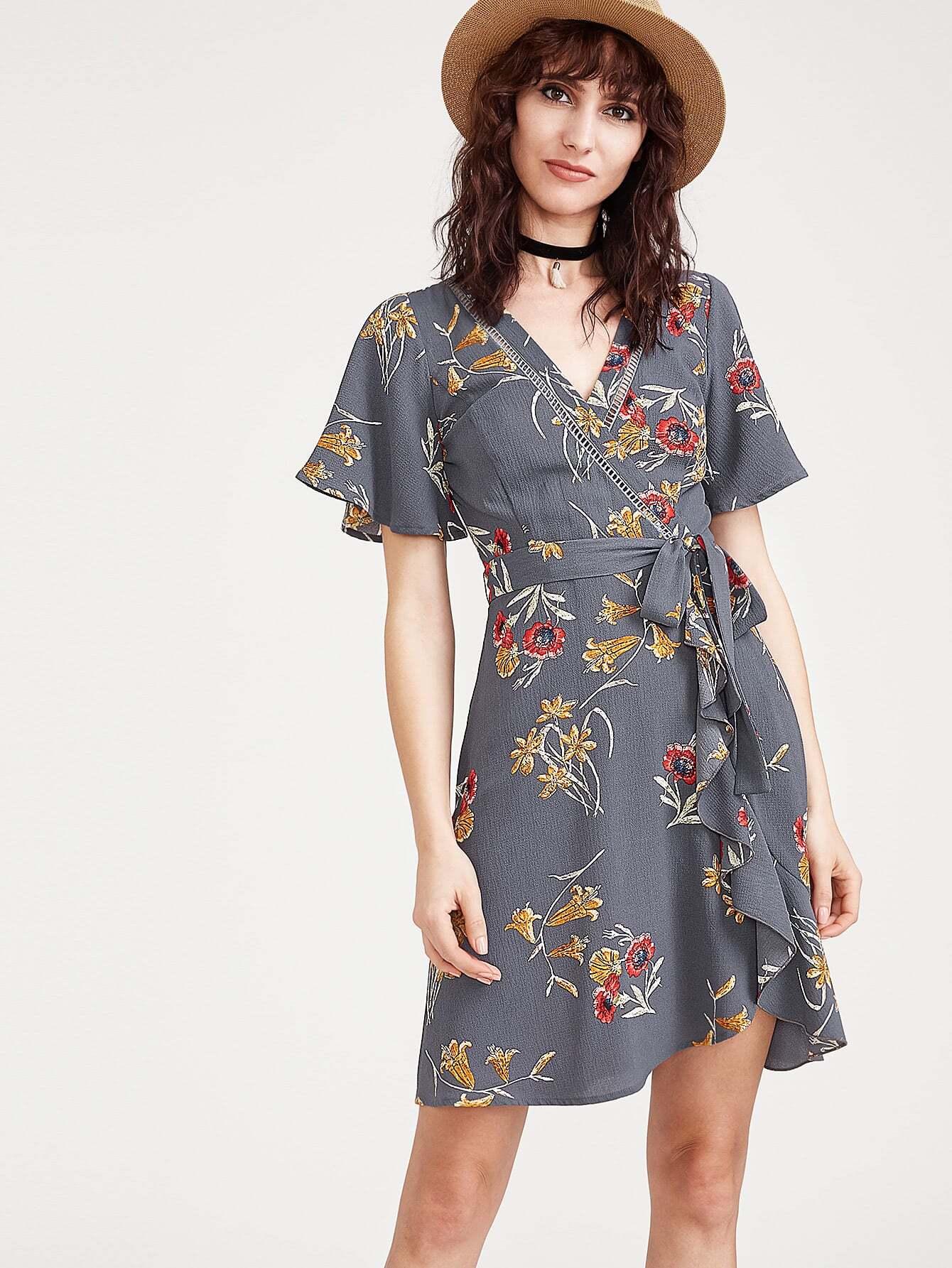 Фото Botanical Print Flutter Sleeve Surplice Obi Tie Dress. Купить с доставкой