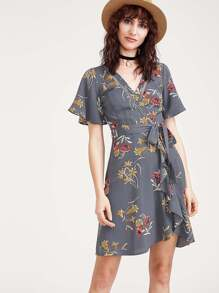 Botanical Print Flutter Sleeve Surplice Obi Tie Dress