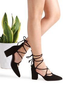 Black Point Toe Lace Up Heeled Shoes