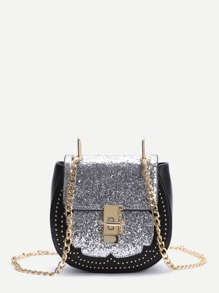 Sliver Sequin Saddle Bag With Chain