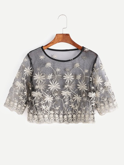 Black Flower Embroidered Sheer Mesh Crop Top