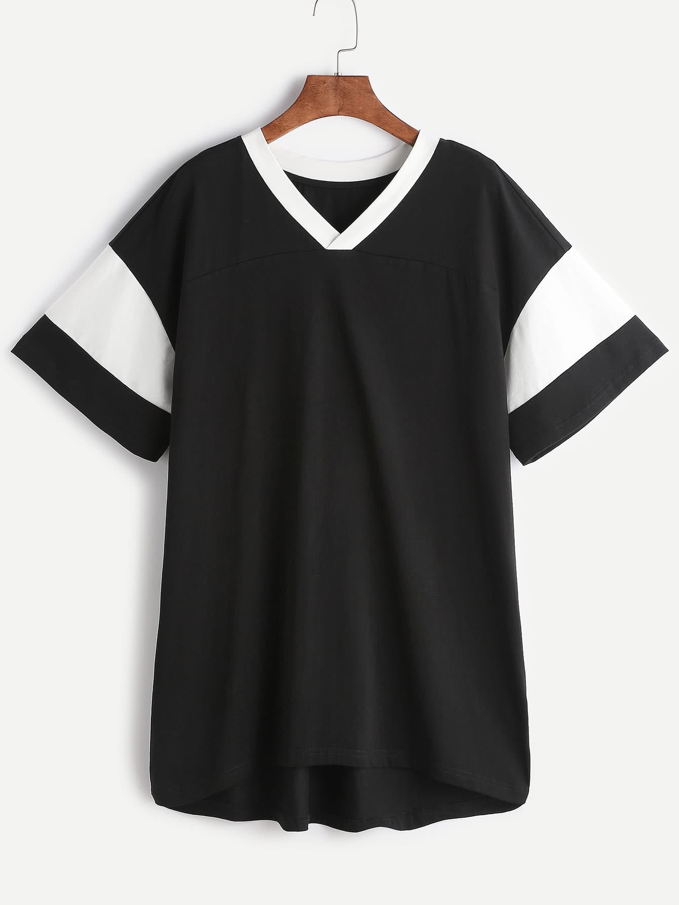Фото Black Contrast V Neck And Sleeve Tee Dress. Купить с доставкой
