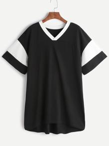 Black Contrast V Neck And Sleeve Tee Dress