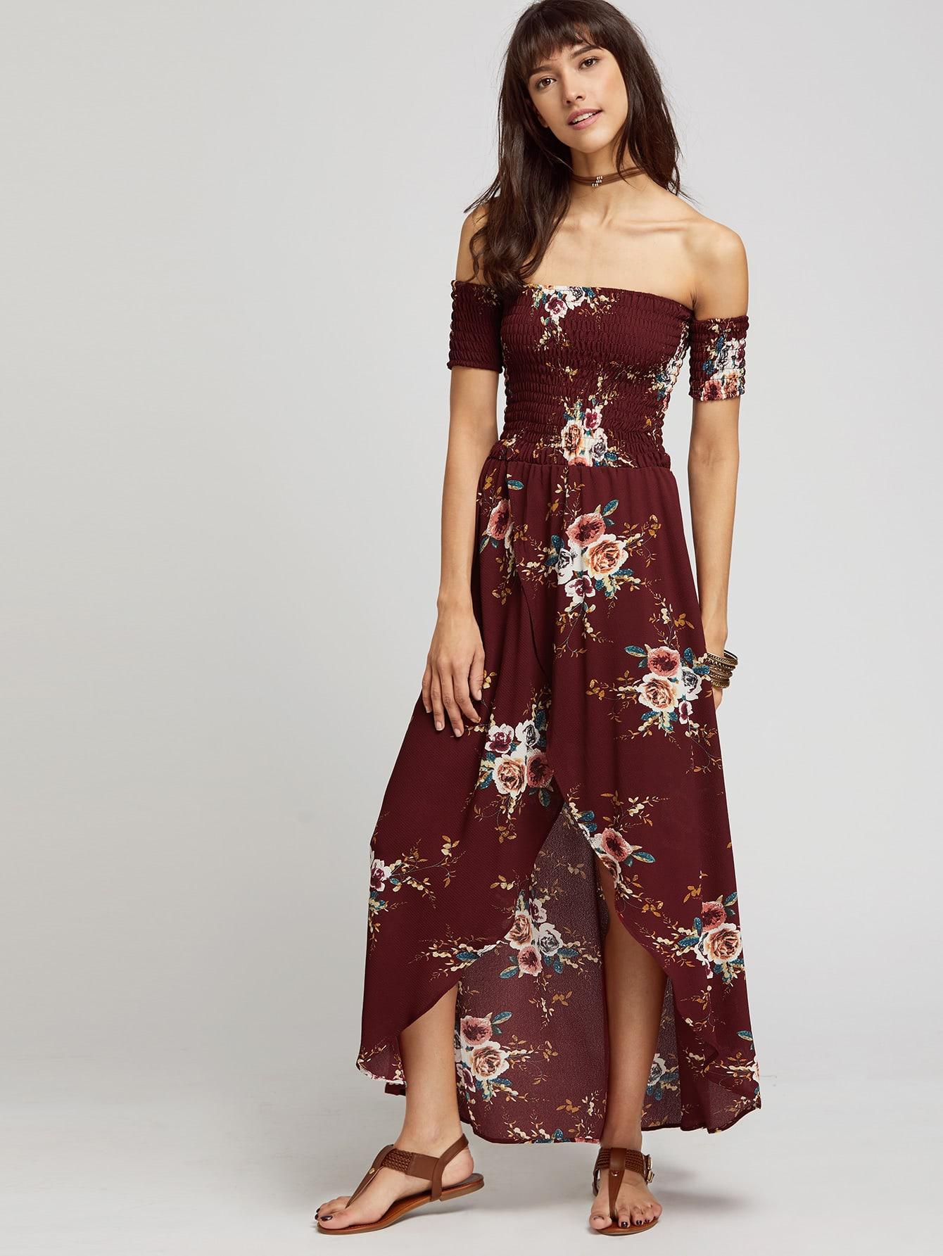 Фото Burgundy Florals Off The Shoulder Shirred Wrap Dress. Купить с доставкой