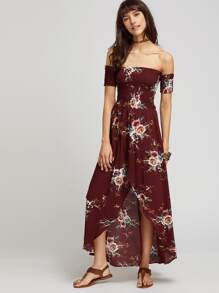 Burgundy Florals Off The Shoulder Shirred Wrap Dress