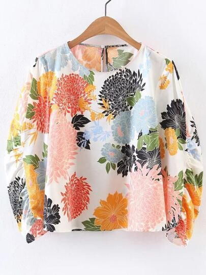 Chrysanthemum Print Gathered Sleeve Keyhole Back Blouse