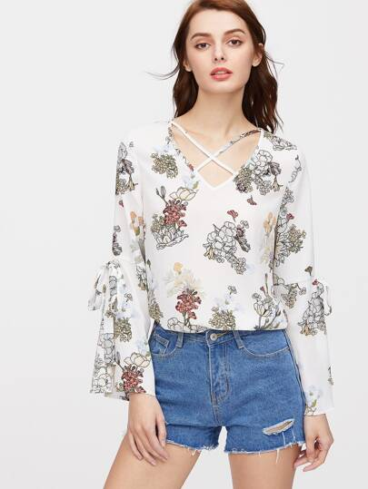 Crisscross V Neck Split Tie-Sleeve Botanical Print Top