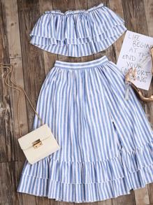 Top bandeau de rayas con falda con volantes - azul