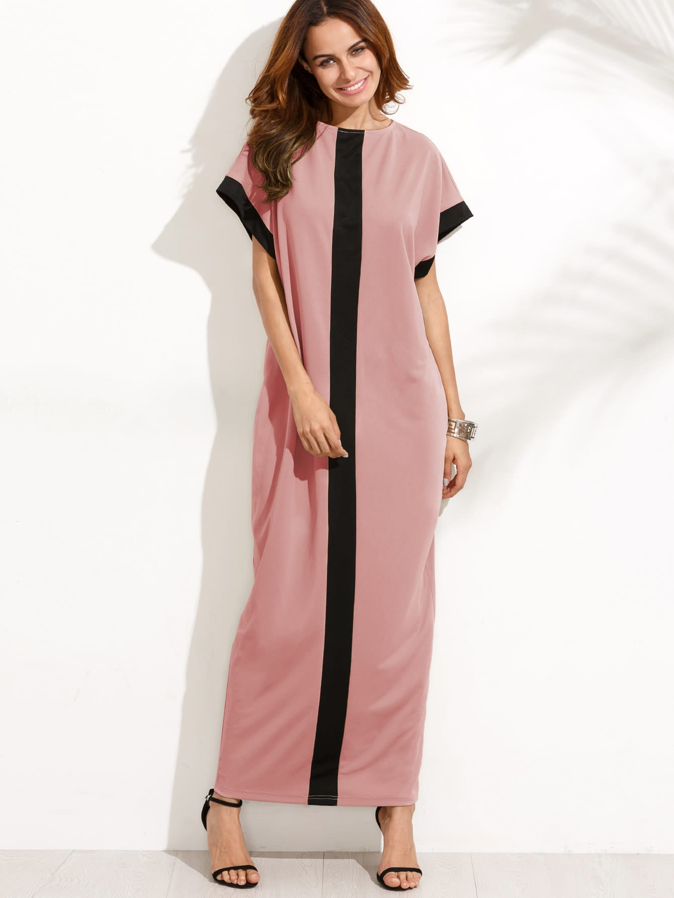 Фото Contrast Panel Cocoon Full Length Dress. Купить с доставкой