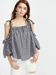 Self Tie Cold Shoulder Bell Sleeve Checkered Trapeze Top