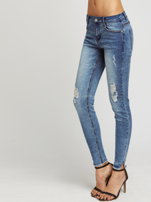 Bleach Wash Ripped Skinny Jeans