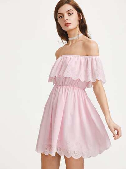 Scallop Edge Laser Cut Flounce Bardot Dress