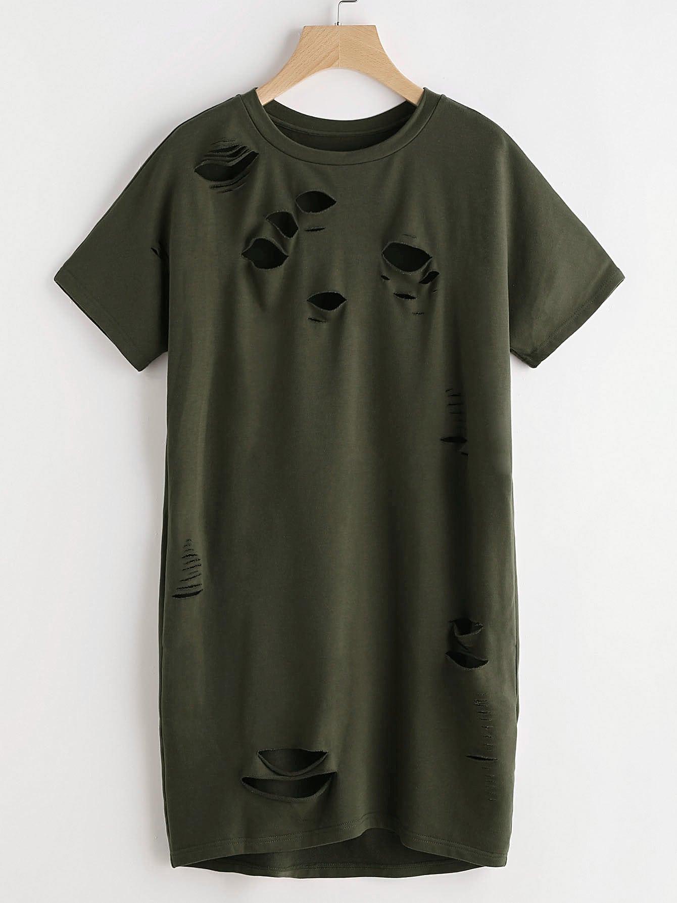 Фото Distressed Tee Dress. Купить с доставкой