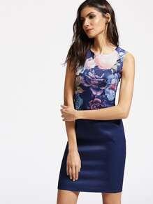 Floral Print Slit Back Sheath Dress