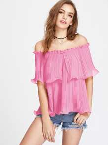 Frilled Pleated Off Shoulder Top