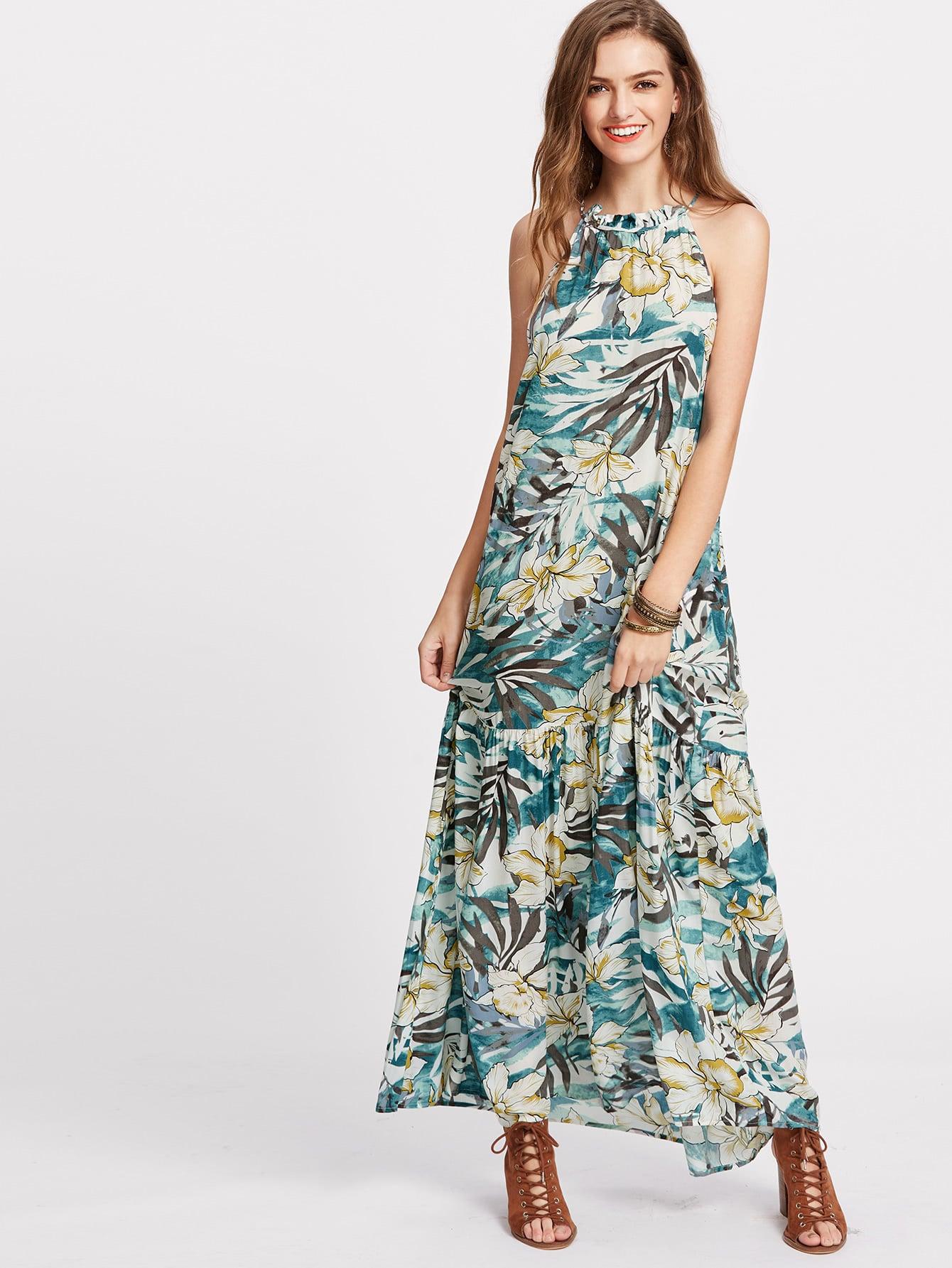 Фото Tropical Print Tiered Halter Maxi Dress. Купить с доставкой