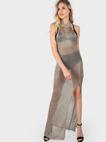 Metallic Crochet Halter Dress GOLD