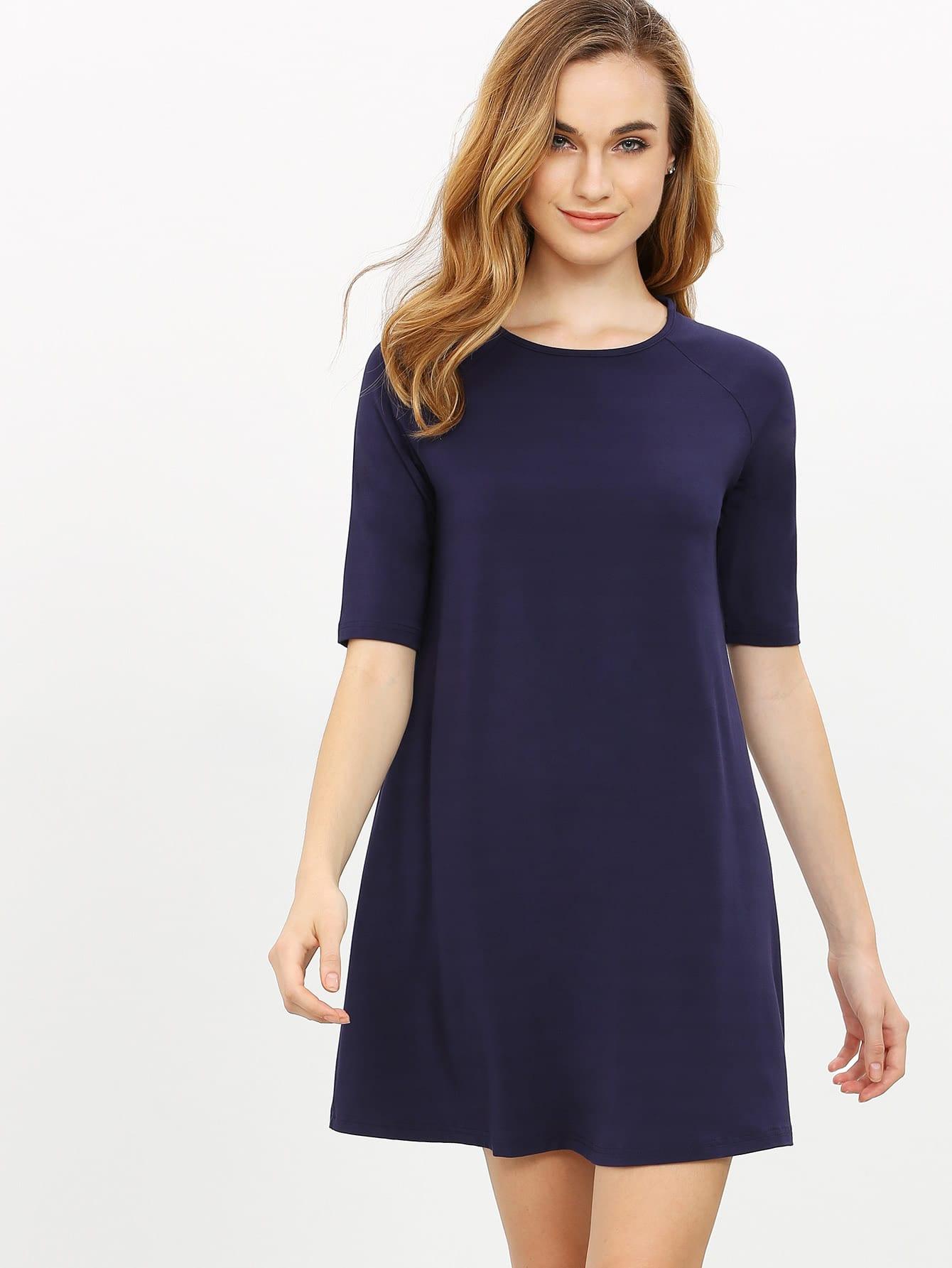 Фото Navy Half Sleeve Casual Dress. Купить с доставкой