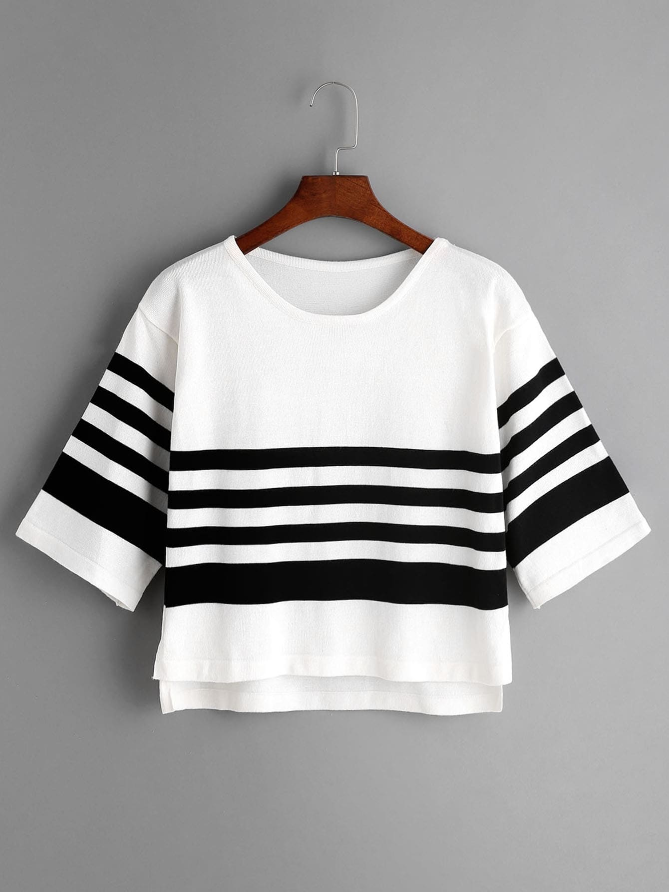 White Striped Slit Side High Low Knit T-shirt tee170309102