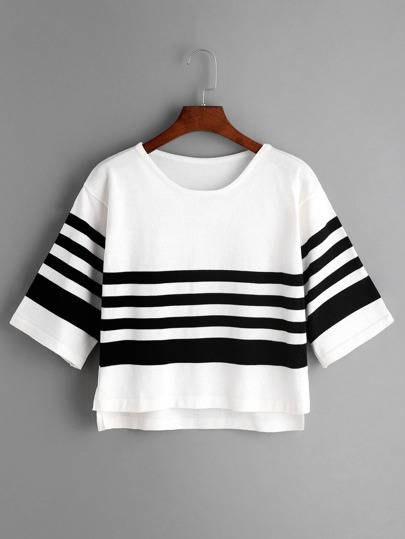 Striped Slit Side High Low Knit T-shirt