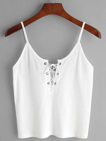 White Ribbed Lace Up Cami Top