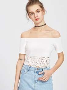 Bardot Scallop Laser Cutout Top