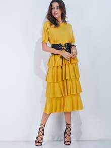 Yellow Ruffle Tiered Dress With Obi