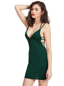 Dark Green Crisscross Back Bodycon Dress
