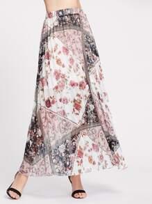Falda plisada con estampado de flor - multicolor
