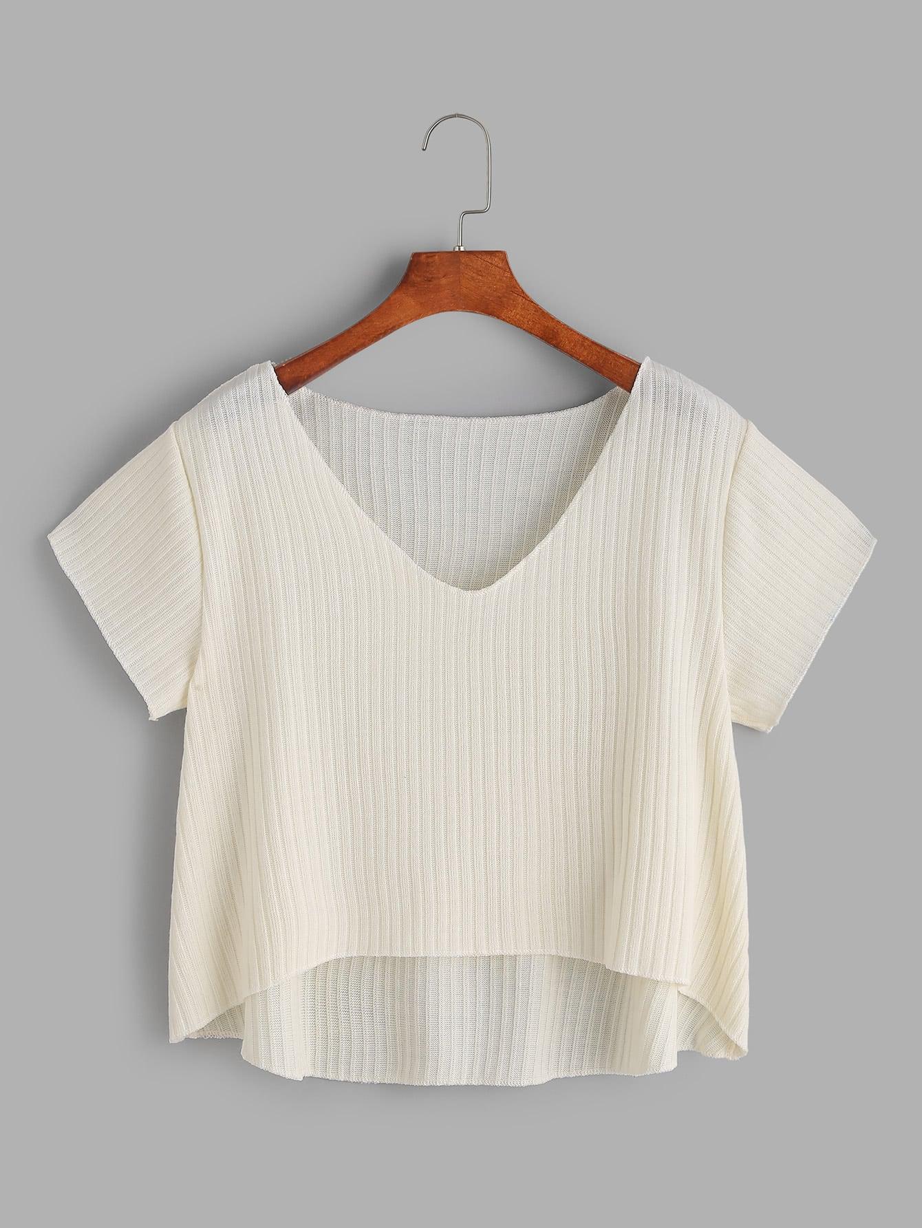 Фото Apricot V Neck Dip Hem Knit T-shirt. Купить с доставкой
