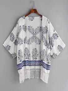 Kimono à imprimé floral blanc