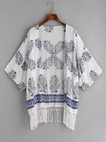 Kimono con estampado floral ribete con flecos - blanco