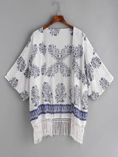 Floral Print Fringe Hemline Kimono