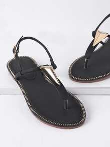 Sandalias con detalle de metal - negro