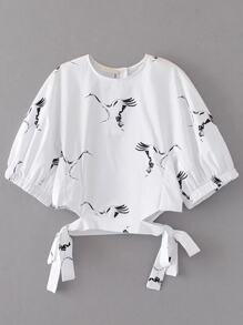 Cranes Print Cut Out Tie Detail Blouse
