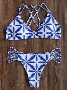 Blu e bianco intrecciato Strap Bikini