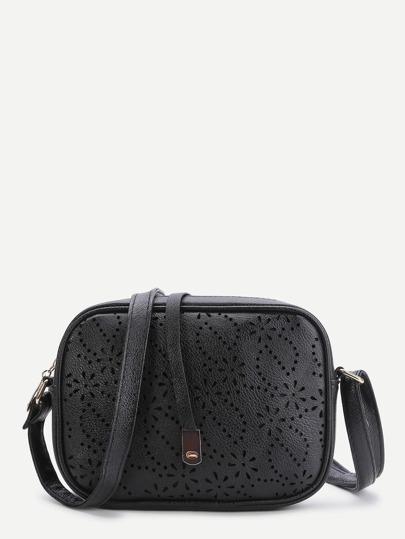 Black Laser Cut Out Vintage Shoulder Bag