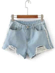 Shorts en denim con detalle rasgado - azul