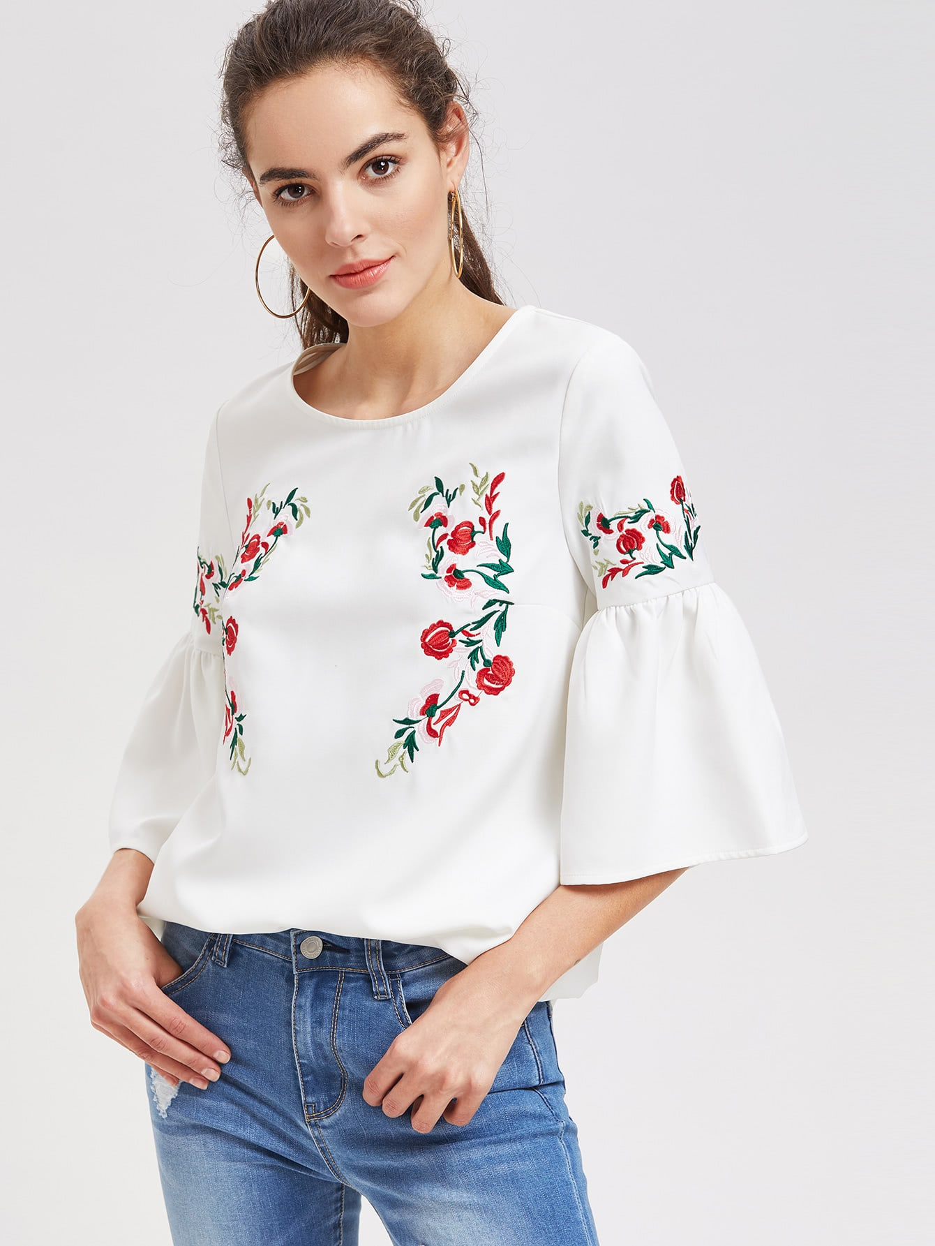 Symmetric Flower Embroidered Fluted Sleeve Top flower print choker neck fluted sleeve top